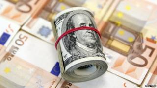 Dollar and euro banknotes