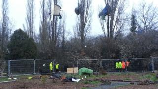 """""""Security specialists"""" removing tree-top protesters at Stapleton Allotments have entered a second day"""