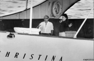 Aristotle Onassis and Jacqueline Onassis-Kennedy on board Christina, 1969