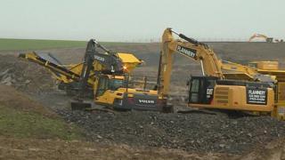Excavators at work on the Hinkley Point C site