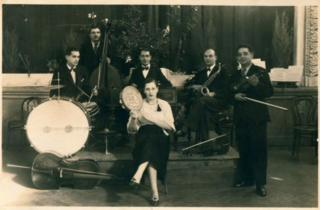 An old photo of an Hungarian gypsy band