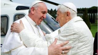 Pope Francis meets Pope emeritus Benedict XVI in Castel Gandolfo on 23 March 2013