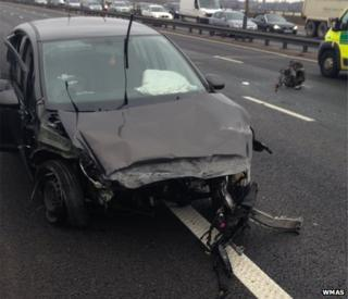 One of the vehicles in the crash