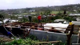 Aid workers on Vanuatu