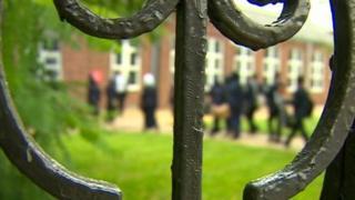 Detail of the gate of Golden Hillock School, Birmingham