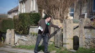 Green Party candidate Phil Chamberlain canvasses in the Wiltshire village of Box