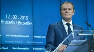 European Council President Donald Tusk at the European Council headquarters, in Brussels, Belgium (12 February 2015)