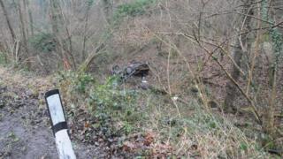 Car plunges down Forest of Dean ravine
