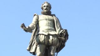 Statue of Cervantes in the Plaza de las Cortes in Madrid (16 March 2015)