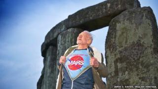 Buzz Aldrin at Stonehenge, Wiltshire