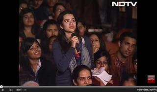 YouTube screenshot of student asking IMF chief Christine Lagarde a question