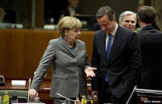 Angela Merkel with PM David Cameron in Feb 2015