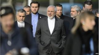 Iranian delegation at nuclear talks in Lausanne
