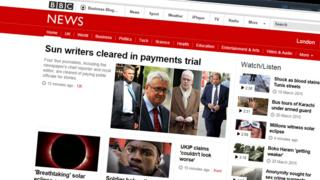 Grab of BBC News Online front page