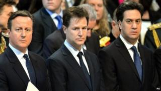David Cameron, Nick Clegg and Ed Milibnd at a recent church service to commemorate the end of UK combat operations in Afghanistan