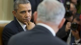 Benjamin Netanyahu and Barack Obama in the White House. Mar 2014