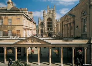 Bath Abbey with the Pump Rooms