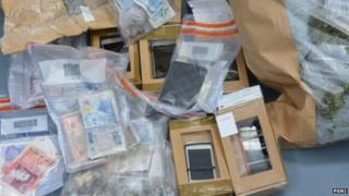 A sum of cash was also seized by police during searches in Northern Ireland