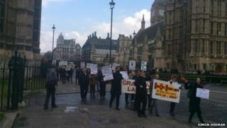 Street lights protest on the march through Westminster