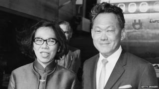 Prime Minister of Singapore Lee Kuan Yew and his wife, arriving at London Airport (October 2nd 1970)