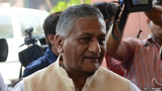Indian minister of state for external affairs Gen VK Singh