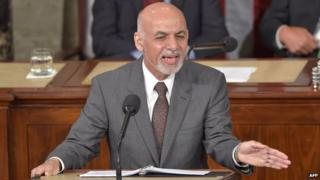 Afghan President Ashraf Ghani addressing a joint session of the US Congress on 25 March 2015