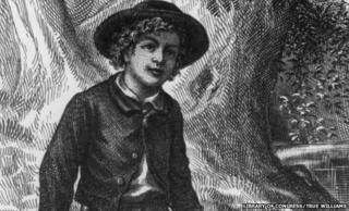 An original black and white illustration of Tom Sawyer