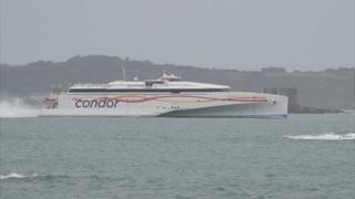 Condor Liberation passing Herm on its way to St Peter Port Harbour, Guernsey, from Poole on its maiden voyage