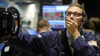 US trader looking shocked