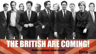UK and US politicians in Trainspotting style poster for election coverage blog