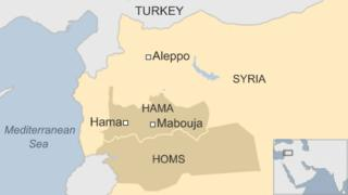 Map showing location of Mabouja, Hama province, Syria