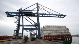 A crane along the quay side at Tilbury Docks in Essex