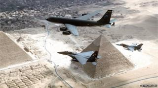 US jets fly over the pyramids of Egypt in March of 1998