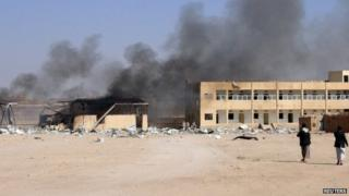 Aftermath of explosion at diary factory in Hudaydah, Yemen (1 April 2015)