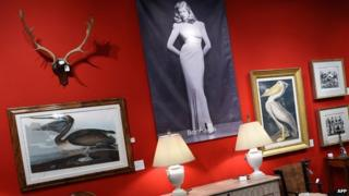 Lauren Bacall auction items on display