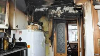 Fire-damaged kitchen