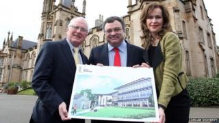 Professor Alastair Adair, Dr Stephen Farry and Deirdre Heenan at Magee College