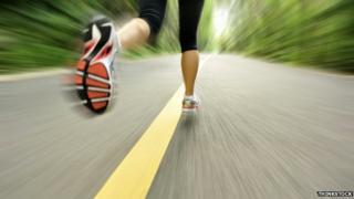 Feet of someone running