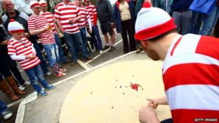 """Players from team """"Where""""s Tolley?"""" take part in the annual British and World Marbles Championships"""