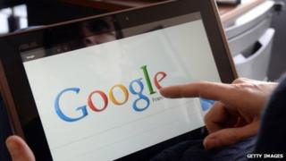 Google logo on tablet