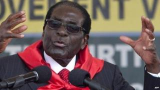 Robert Mugabe in Victoria Falls on 28 February 2015