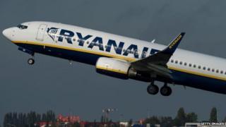 Ryanair plane taking off