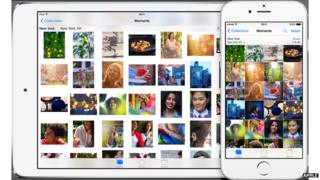 The same set of photos is shown on an iPad and an iPhone