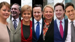 Composite image of the seven party leaders potentially involved in the TV debates of the 2015 general election. L-R: Leanne Wood (Plaid Cymru), Nigel Farage (Ukip), Nicola Sturgeon (SNP), David Cameron (Conservative), Natalie Bennett (Green Party), Nick Clegg (Liberal Democrat), Ed Miliband (Labour).