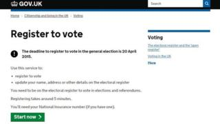 A screengrab of register-to-vote page