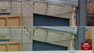 A comparison of the cracks in the damaged West Stand at Windsor Park