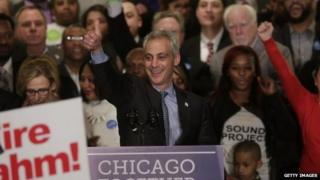Rahm Emanuel gives the thumbs up during his victory speech after being re-elected Mayor of Chicago at his election night rally in Chicago, Illnois 7 April 2015