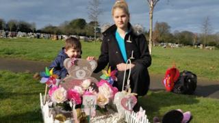 The grave site in Kingsdown of Karen Thompson's 14-month-old daughter