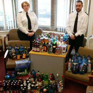Police display the large amount of alcohol seized from underage drinkers in Portrush and Portstewart on Easter Monday