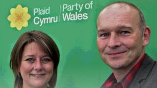 Plaid Cymru leader Leanne Wood with candidate Mike Parker